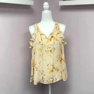 Belle Vere XS Yellow Cold Shoulder Floral Top